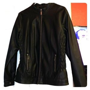Black leather imitation jacket!brand new look